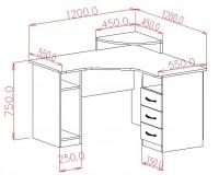 Стол компьютерный угловой (0.76*1.2*1.2)