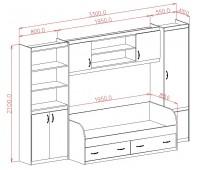 Стенка №4 (3300*420*2100) + кровать