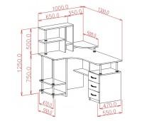 Стол компьютерный с углом (0.76*1.0*1.3)
